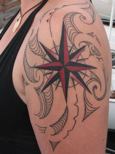 nautical rose tattoo nautical compass on shoulder