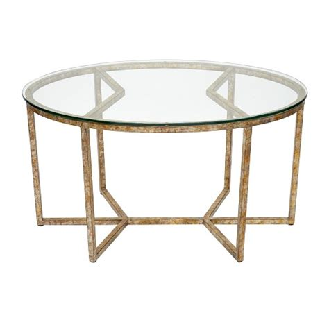 Geo Glass Coffee Table Antiqued Geo Oval Glass Coffee Table