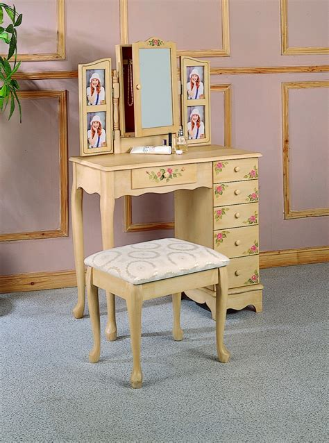 coaster queen anne style vanity table  stoolbench set hand painted