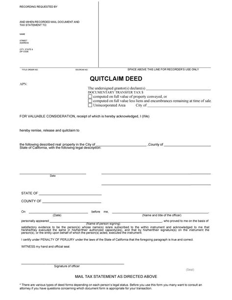 deed template free 46 free quit claim deed forms templates template lab