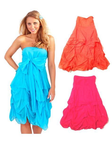 womens strapless summer dress cover up ruffled maxi