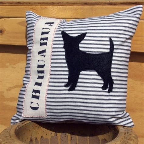 chichuahua in black felt pillow cover black and ivory