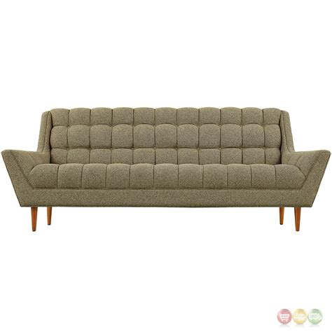 Response Contemporary Button Tufted Upholstered Sofa Oatmeal Mid Century Modern Tufted Sofa