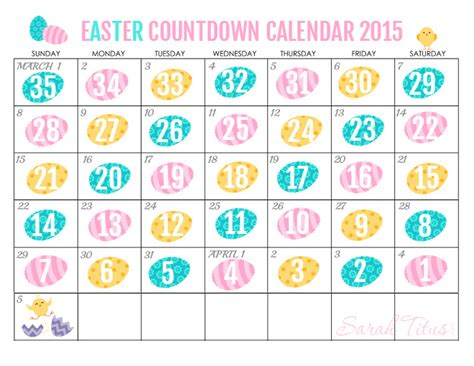 Calendar When Is Easter 2015 Free Printable Countdown Easter Calendar 2015