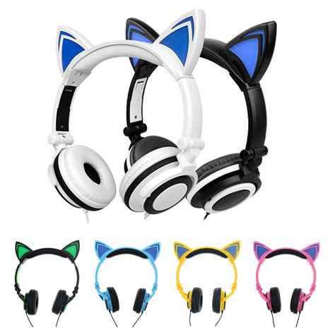 headphones with light up cat ears foldable flashing glowing cat ears headphones gaming