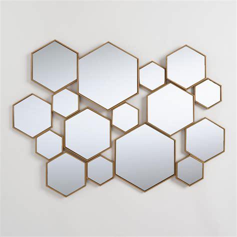 Miroir Metal 3066 by Brass Metal Hexagon Mirror Panel Metallic Gold By World