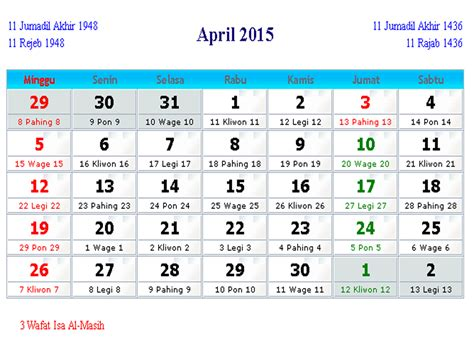April Calendar 2015 Kalender Indonesia April 2015 Kalender Indonesia 2017