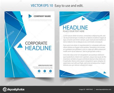 abstract blue low polygon leaflet brochure flyer template blue polygon abstract vector brochure annual report