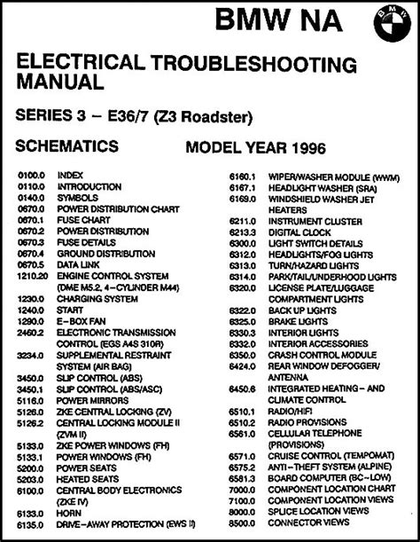 bmw electrical troubleshooting manual e36 1996 bmw z3 roadster electrical troubleshooting manual original