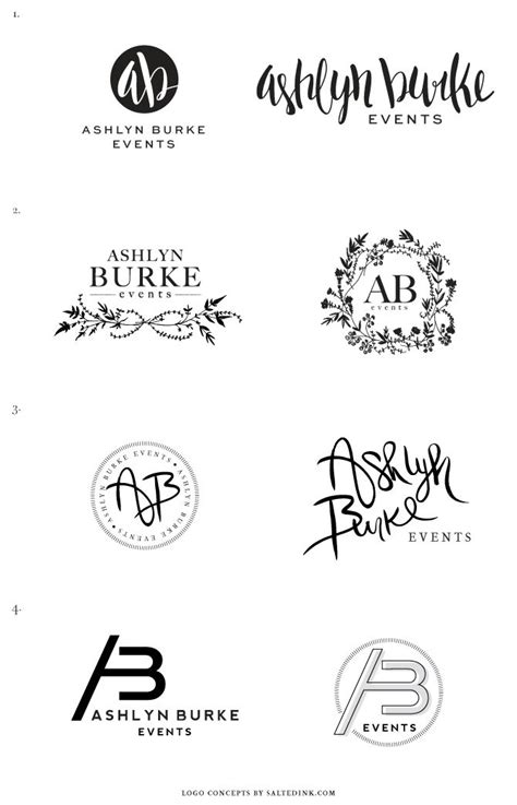brand logo design tips new brand launch ashlyn burke events salted ink design co process logo concepts