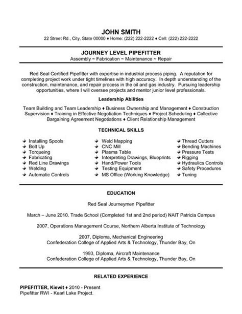 pipefitter resume sles resume templates resume and templates on