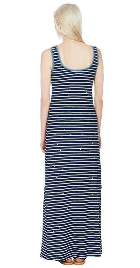 Maxi Dress Wanita Irl Patches Stripe Blouse Blue lyst current elliott mixed patch in blue