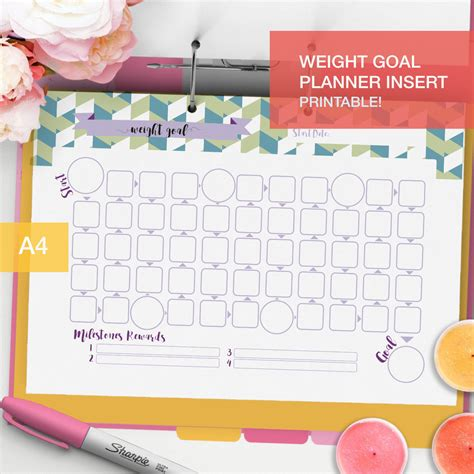 weight loss smart printable fitness planner printable weight goal planner inserts a4 goal tracker