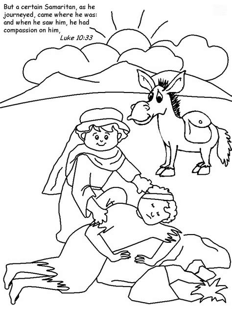 good samaritan colouring sheet crafts bible