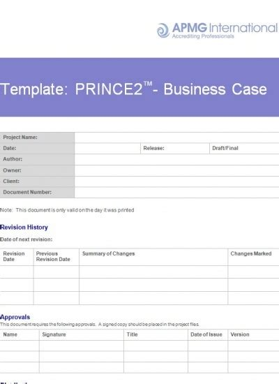 Prince2 174 Business Case Template Apmg Business Books Book Of Business Template