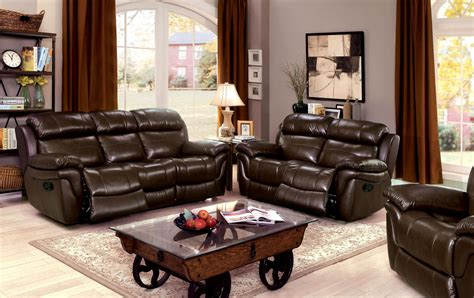 Justine Brown Leather Reclining Living Room Set From Brown Leather Living Room Set