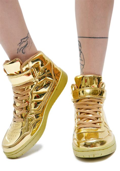 gold high top sneakers for gold digger metallic high top sneakers dolls kill