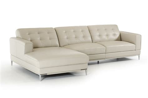 Divani Casa Larkspur Mid Century Light Grey Leather Light Gray Sectional Sofa