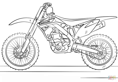 card dirt bike coloring templates kawasaki motocross bike coloring page free printable