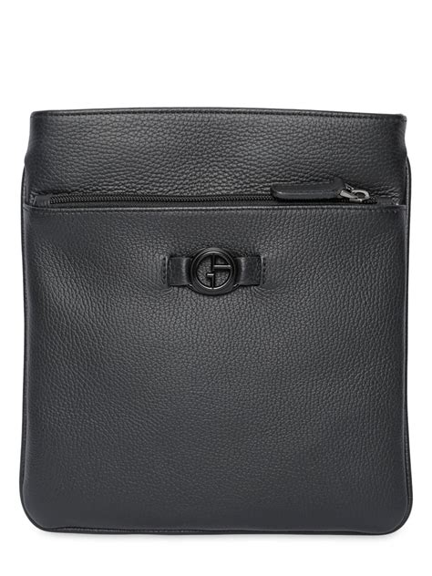 Bag Giorgio Armani Black Camel lyst giorgio armani hammered leather crossbody bag in black for