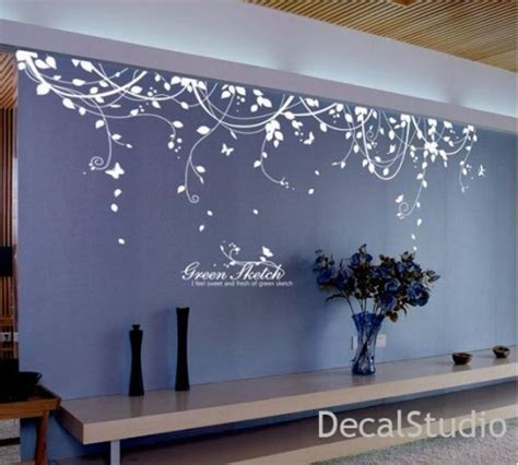 white vinyl sticker wall decal  bedroomliving room flower floral decalstudio  artfire