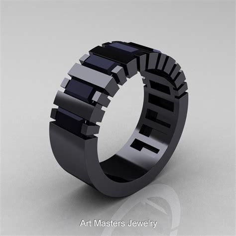 Mens Modern 14K Black Gold Baguette Black Diamond Cluster