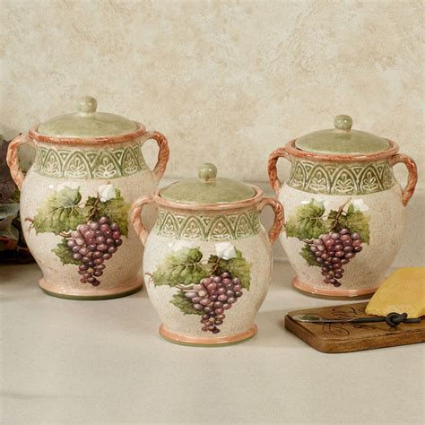 sanctuary wine grapes kitchen canister set