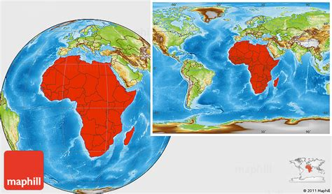 the entire world physical location map of africa within the entire world