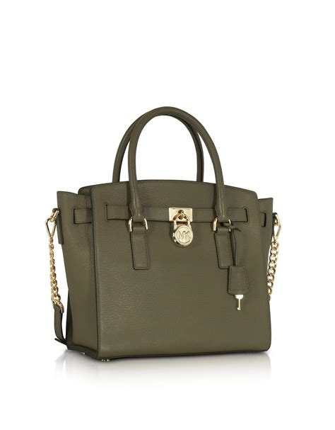 Filma Signature Olive Pouch 2 L lyst michael kors hamilton large olive green pebbled leather satchel bag in green
