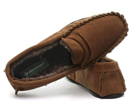 soft house slippers mens dunlop genuine leather suede moccasin slippers soft house shoes sizes ebay
