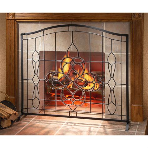 cut beveled glass fireplace screen 138643