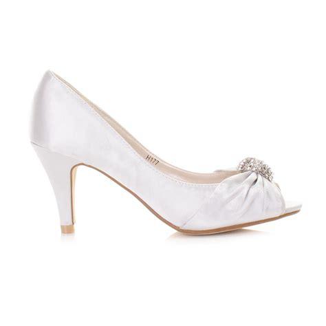 Low Bridesmaid Shoes by Womens Low Heel Peep Toe Diamante Brooch Wedding