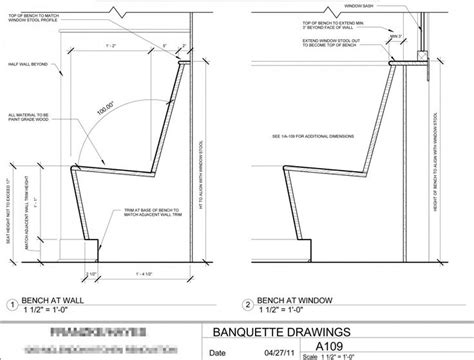 Height Of Banquette Seating by Banquette Details Details Dimensions To