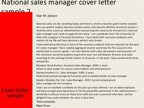National Account Executive Cover Letter by National Sales Manager Cover Letter Botbuzz Co
