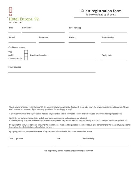 guest registration card template form hotel registration form