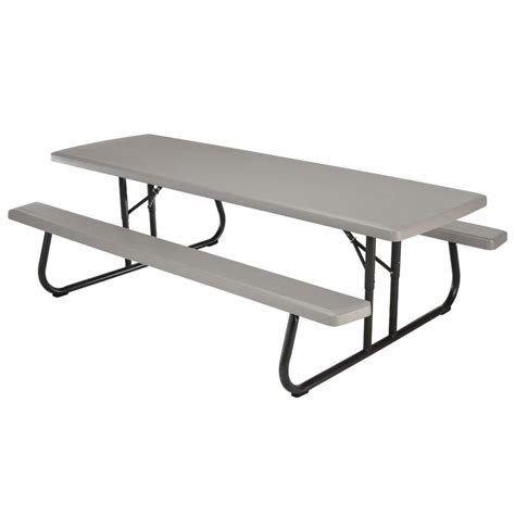 plastic folding picnic table bench shop lifetime products 8 ft gray resin rectangle picnic