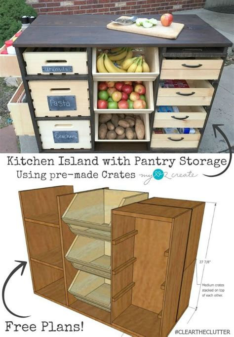 free kitchen island plans build an awesome kitchen island with pantry storage with crates and pallet crates free plans at
