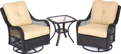 Hanover Orleans 3 Piece Outdoor Bistro Set With Swivel Outdoor Swivel Glider Chair