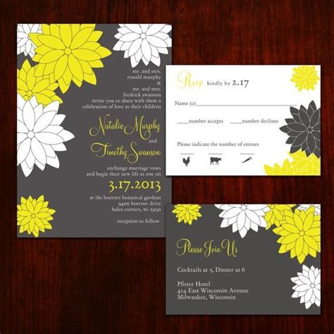 wedding invitation design yellow contemporary floral grey and yellow wedding invitations