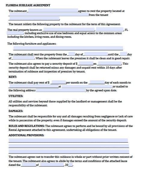 Free Florida Sublease Agreement Pdf Template Rental Agreement Template Florida