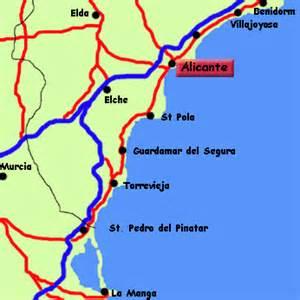 map of alicante area alicante costa blanca spain