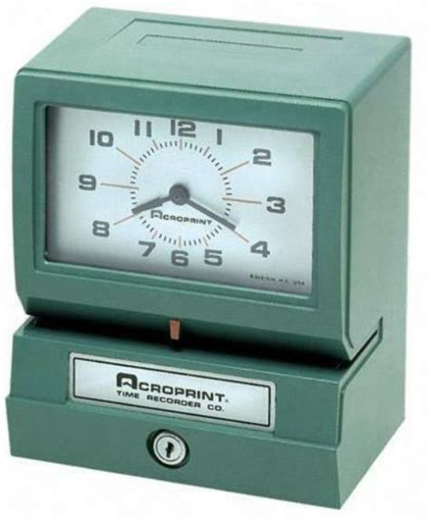 rugged time clock acroprint 01 2070 40a model 150er3 rugged and dependable automatic print time clock day of week