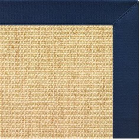 navy border rug sand sisal rug w navy blue cotton border