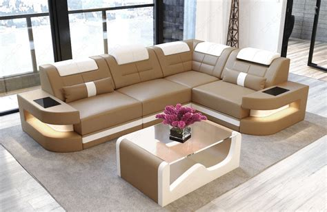 sofa luxury denver l shape with led sandbeige white