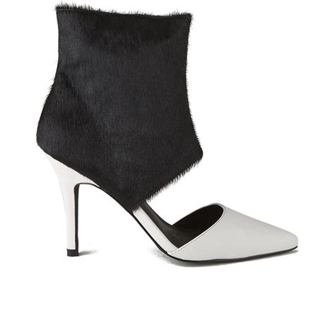 Kickers Boots White Sol sol sana s tylar pony hair cuff leather cut out