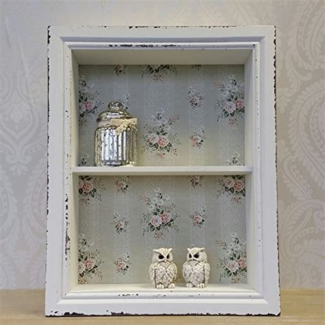 wooden wall display cabinet shelf unit white pink shabby chic vintage style shabbychic london