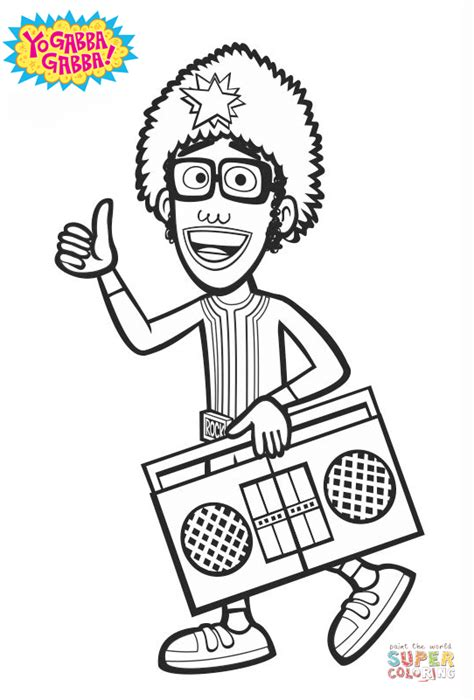 dj lance yo gabba gabba yo gabba gabba dj lance rock coloring page free
