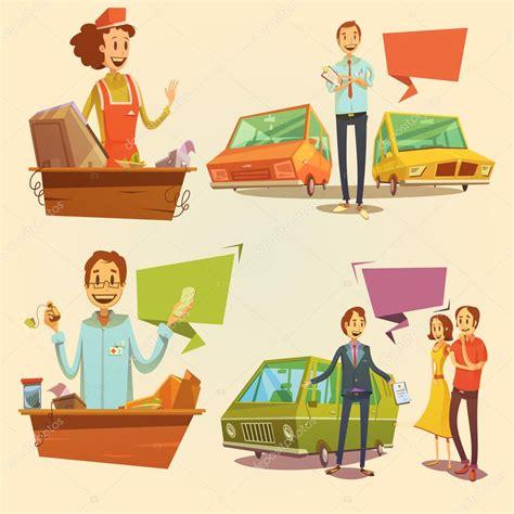 imagenes retro dibujos animados conjunto de dibujos animados retro de vendedor archivo