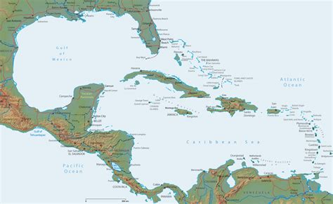 central america and the caribbean physical map map caribbean central america