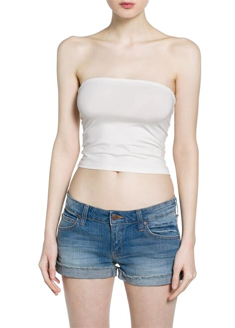 Top Five Bandeau Tops by Lyst Mango Bandeau Top In White